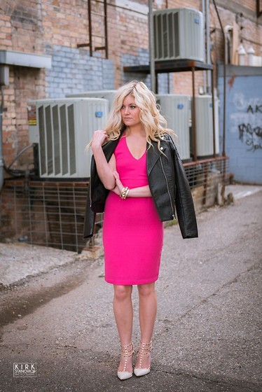 Chandler Roberson - H&M Pencil Dress, Forever 21 Leather Jacket - Wear Pink