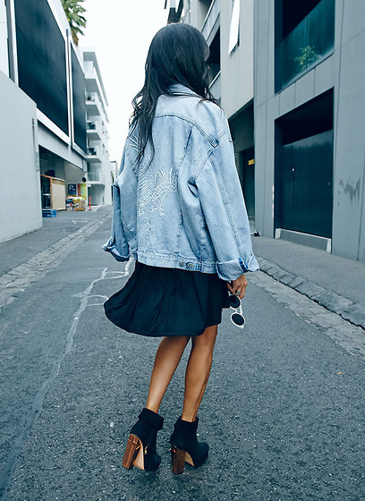 Lisa O - Maurie & Eve Denim Jacket, Single White Female Dress, Friend Of Mine Boots, Shakuhachi Sunglasses - Man O Man