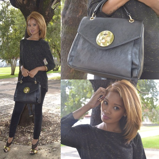 LynnJazzy . - Glitter Top, Black Jeggings, Zara Shoes, Aldo Bag - Black and gold