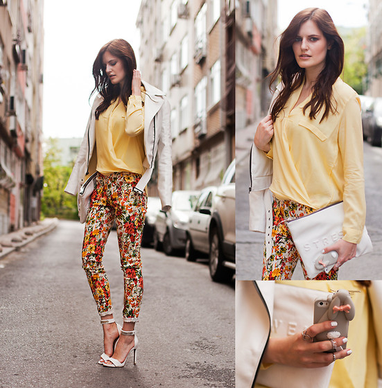 Viktoriya Sener - Bb Dakota Jacket, Sheinside Blouse, Black Five Floral Pants, Mango Sandals, Zara Clutch, Persun Iphone Case - ALL SHADES OF SUN