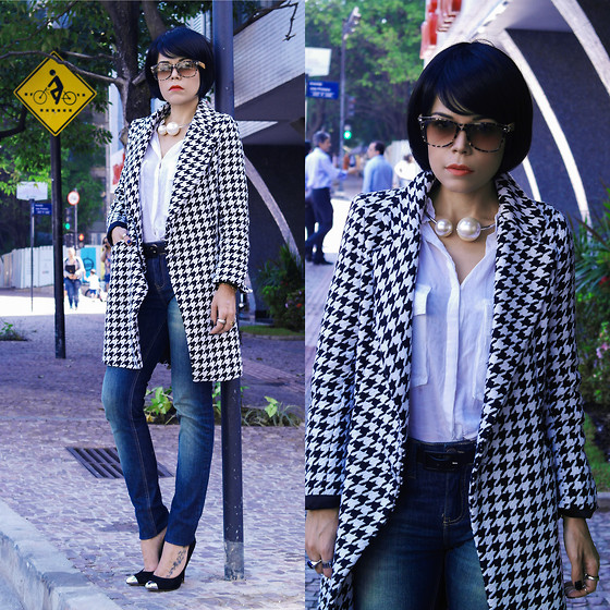 Priscila Diniz - Pearl Necklace, Cap Toe, Sunnies, Jeans, Shirt, Coat - Pearl houndstooth