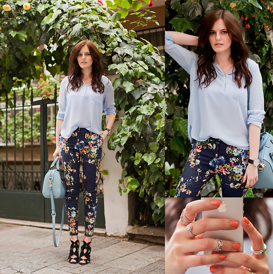 Viktoriya Sener - Sheinside Blue Blouse, Sheinside Floral Pants, Persun Bag, Zara Sandals - THE AZURE