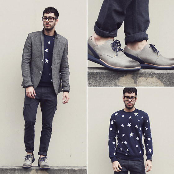 Reinaldo Irizarry - Forever 21 Sweater, Topman Blazer, Levi's® Cargo Jeans, Tom Ford Glasses, Tsubo Shoes - STAR STUDDED