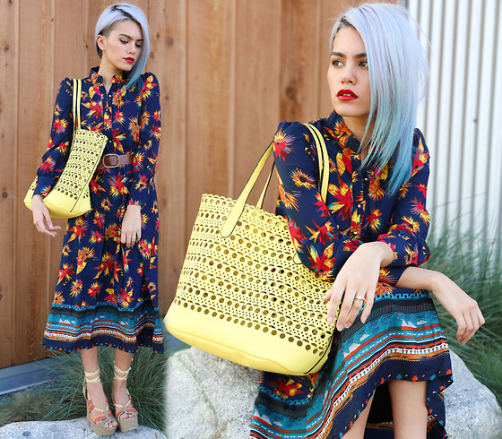 Alanna Durkovich - Mart Of China Long Sleeved Chiffon Dress, Streetlevel Bags Laser Cut Tote - Spicy Hues