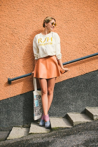 Martina M. - R/H Sweatshirt, American Apparel Skirt, Jeffrey Campbell Wedges - It's all peachy.