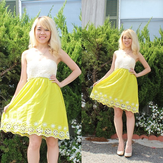 Sandy Y - Papaya Chartreuse Spring Dress, Forever 21 Cream Pointed Heels - My Graduation Dress!