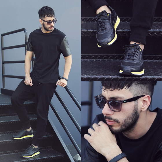 Reinaldo Irizarry - Topman Shirt, Zara Joggers, Rockport Sneakers, Lacoste Sunglasses - STROKE OF MIDNIGHT