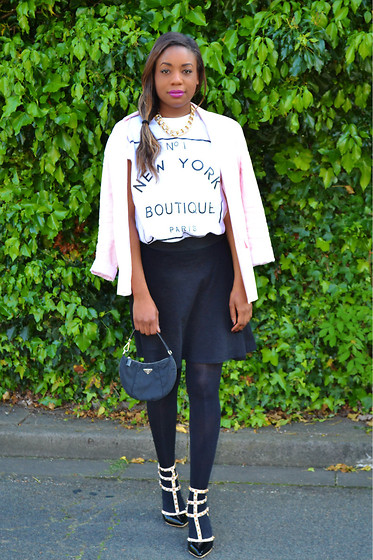 Laura C - Oasap Shoes, Prada Bag, River Island T Shirt - Pink Jacket, Studded Shoes // StylishVue
