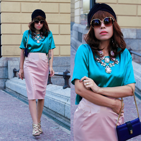 Priscila Diniz - Green Satin Top, Pink Vinyl Skirt, Shopbop Blue Clutch (Similar), Black Turban, Sunglasses, Statement Necklace - Anyday, anyway