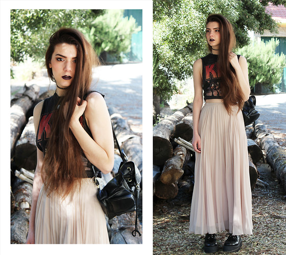 CLAUDIA Holynights - Vintage Leather Backpack, Old Pleated Maxi Skirt - Whenever I'm alone with you You make me feel like I am home