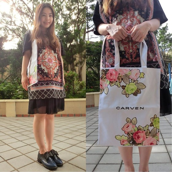Petite Ca - Heavy Plx Print Tee, Vintage Store Skirt, Leather Ribbon Shoes, Carven Floral Print Tote Bag - Patterned Me