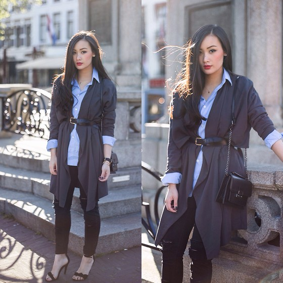 Levi Nguyen - Drape Duster Coat, Similar Here:, Ripped Jeans, Same Here, Long Sleeve Boyfriend Shirt, Similar Here:, Basic Sandals With Bow, Same Here: - WRAPPED