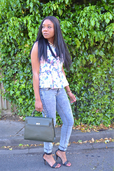 Laura C - Ribbon Floral Peplum Top, Bank Fashion Jeans, Office Heels - Ladylike // StylishVue