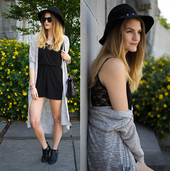 Catherine V. - Hat, H&M Lace Playsuit, H&M Oversized Cardigan, Cut Out Boots, Zara Mini City Bag - Festival look.