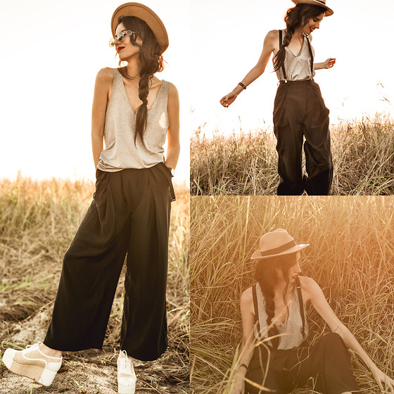 Elle-May Leckenby - Zanzea Grey Loose Tank, Choies High Waist Wide Leg Pants, Choies Camel Felt Fedora - Farmyard 1940s