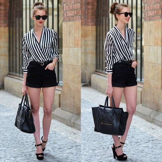Barbora Ondrackova - Choies Shorts, Chicnova Shirt - STRIPES AND SHORTS