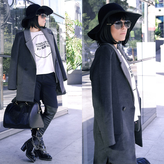 Priscila Diniz - Sunglasses, Floppy Hat, Boots, Leather Bag, Grey Coat > Similar, Rings (Below The Photo) - Cosmopolitan