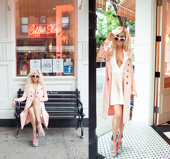 Rachel Lynch - Missguided Pink Trench, Missguided Halter Nude Dress, Missguided Firmina Contrast Perspex Detail Sandal - Coffee in Paris // I Hate Blonde X Missguided X Lookbook