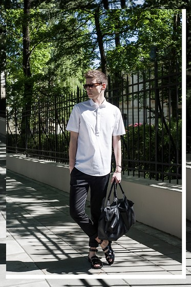 Romek Gelard Gello - Givenchy Roman Sandals, Bag, Cos White Shirt, Zara Black Trousers - Light Pattern