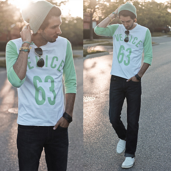 Bobby Raffin - Yesstyle Three Quarter Sleeve, Coach Slip On Sneaker - Crave for Mint