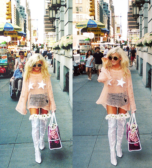 Rachel Lynch - Wildfox Couture Star Peach Sweater, Wildfox Couture Sun And Moon Sunnies, Wildfox Couture Clear Pink Barbie Bag, Jeffrey Campbell White Thigh High Boots - Pretty in Peach at the Plaza Hotel