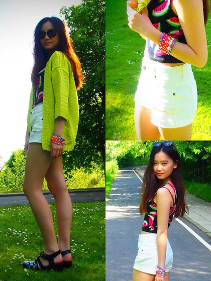 Veronica W. - Boohoo Waterfall Cardigan In Yellow, New Look Watermelon Crop Top, Beachhh Style Bracelets, Boohoo Jelly Sandals, Asos Sunglasses, Forever 21 High Waisted Shorts In White - Watermelonnn x