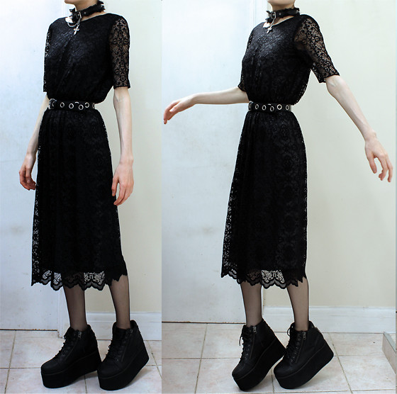 Becky Zombified - Office Dungeon Flatforms, Asos Lace Midi Dress, Asos Eyelet Belt - Siamese Dream