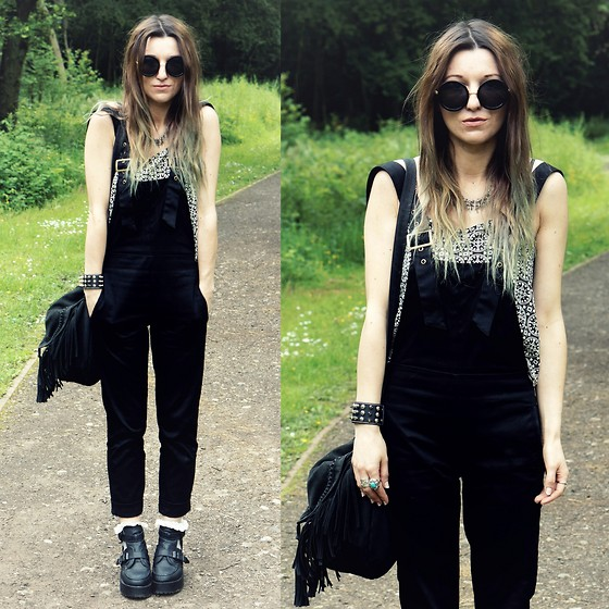 Agata P - Martofchina Black Dungarees - Make Your Voice Heard Loud