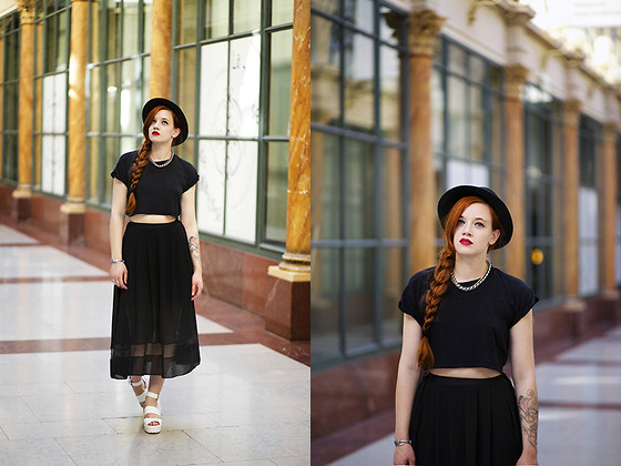 Karole Josefa Bonnet - H&M Crop Top, Sheinside Skirt, Linzi Sandals - Deep dark