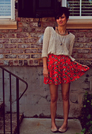 Huntress W. - Forever 21 Sweater, Forever 21 Floral Skirt, Nude Flats - Keeper