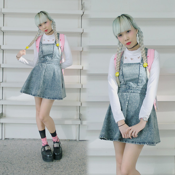 Juju Tan - Dip Drops Heart Top, Wego Heart Backpack, Minkpink Denim Pinafore, Long Clothing X Shoes - Gimme All Ur Luv