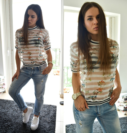 Isabella M. - Frontrowshop Top, Zara Boyfriend Jeans, Asos Shoes, Asos Watch - Shades Of Cool