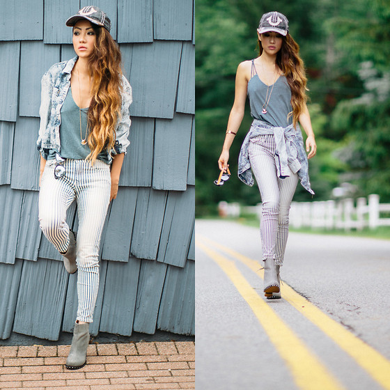 Jessica Wang - Rvca Top, True Religion Jeans, True Religion Cap, Someday Somewhere Sunglasses, Jeffrey Campbell Shoes, Madewell Bracelet, Dittos Brand Shirt - Walking on a fine line