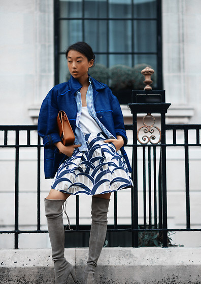 Margaret Zhang - Topshop Woven Jacket, Checked Shirt, Topshop Camisole, Kenzo Palm Print Skirt, Sophie Hulme Leather Envelope Bag, Stuart Weitzman Highland Boots - Farfetched Story