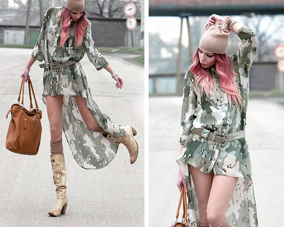 Dora D. - Nelly Camo Oversized Shirt With Asymmetric Hem, Nelly Denim Shorts, Only Hair Chalk ! :) - CAMO RELOADED...