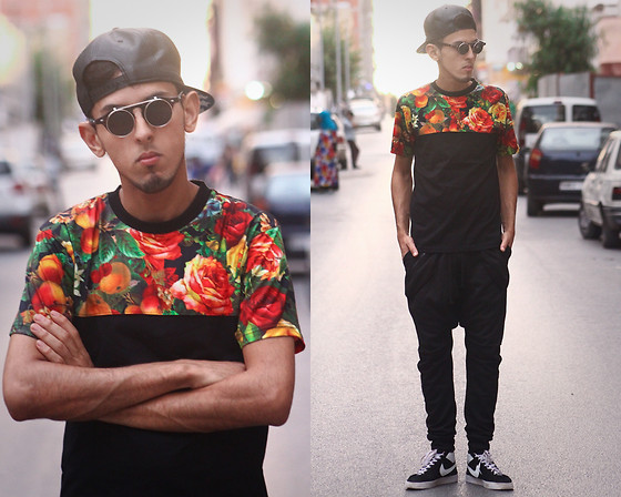 Ahmed Imoudrog - Wholesalecelebshades Glasses From, Choies T Shirt With Rose Print - Floral X Black