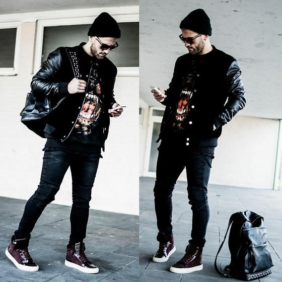 Kosta Williams - Zara Bomber Jacket, Givenchy Rottweiler, Zara Skinny Jeans, Zara High Top Sneakers, Zara Leather Backpack - Casual