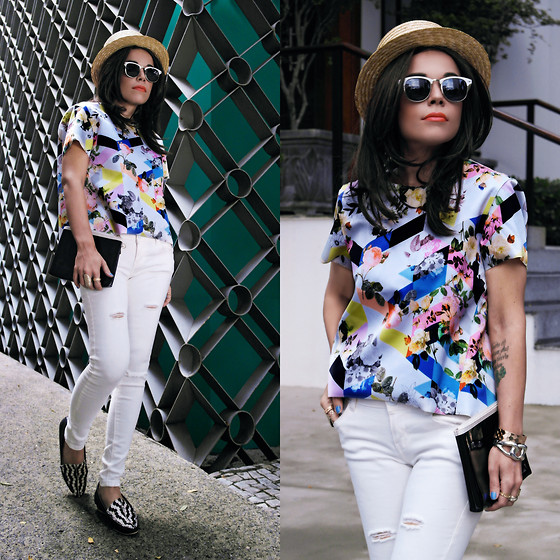 Priscila Diniz - Geometrical Top, White Ripped Jeans, Ray Ban White Clubmaster, Boater Straw Hat, Zebra Loafer, Accessories - I miss you these days! I´m glad to be back!