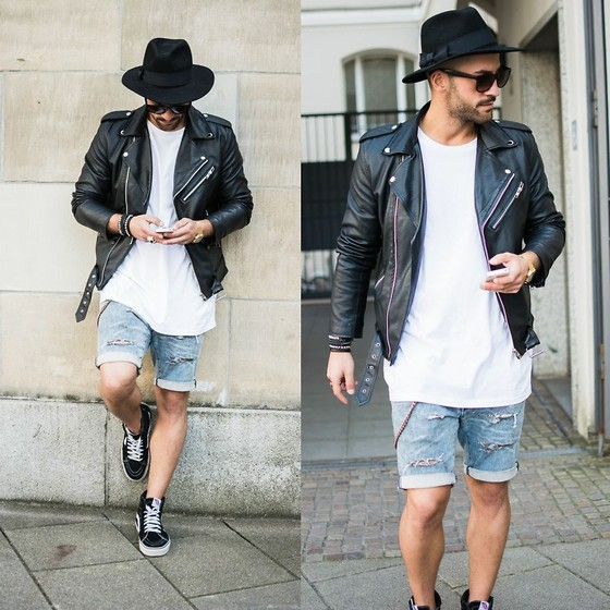 Kosta Williams - No Name Biker Jacket, H&M Basic Shirt, Hurley Fedora, H&M Custom Cut Off Jeans, Vans Sk8 Hi - Paris