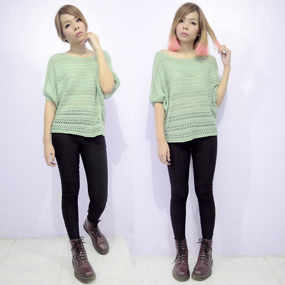 Lady Lou - Knit & Co Knitted Pastel Green, Dr. Martens Dms - 06272014