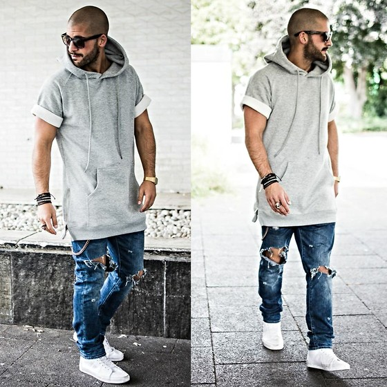 Kosta Williams - Lovers + Friends Short Sleeve With Sidezip, H&M Custom Cut Off Jeans, Vans Sk8 Hi White, Lusardi London Jewellery - I make it look simple