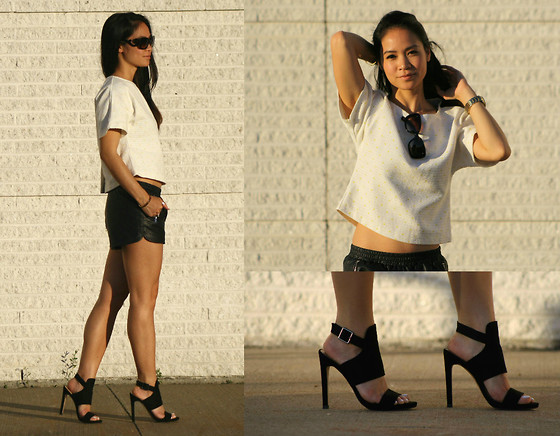 Tweety Ho - Zara Crop Top, Forever 21 Faux Leather Sporty Shorts, Zara Heels - Crop Tops and Sunsets
