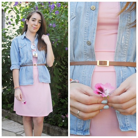 Vanessa Ribeiro - Incredible Glasses Sunglasses, Rosewholesale Dress, C&A Denim Shirt - PINK MOOD