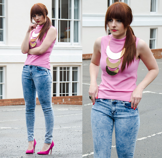 Wioletta M - Warehouse Top, Topshop Necklace - Pink Pink << fashion-utopia.com