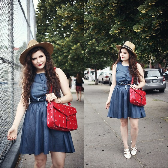 Noelle Downing - Pepaloves Denim Dress, Pepaloves Anchor Bag, Boohoo T Bar Flats - Happy 4th of July!!!
