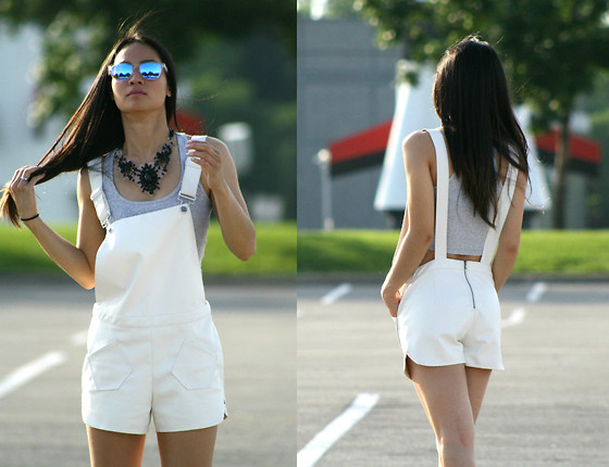Tweety Ho - Oakley Frogskins Sunglasses, Asos Necklace, Nameless White Overalls - White Overalls