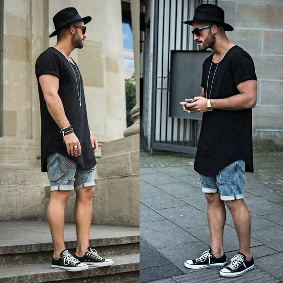 Kosta Williams - Hurley Fedora, Lusardi London Jewellery, Lovers + Friends Long Extented Tee, H&M Jeans ( Custom ), Converse Chucks Low, Lusardi London Jewellery - ..just a cool kid