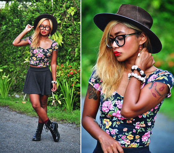 Clair De Lune Wild Rose - Australia Leather Hat, Forever 21 Floral Crop Top, Skater Skirt, Mango Boots - Little Flower