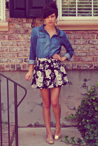 Huntress W. - Forever 21 Earrings, H&M Denim Shirt, Forever 21 Skirt, Thrifted Flats - Evil Angel