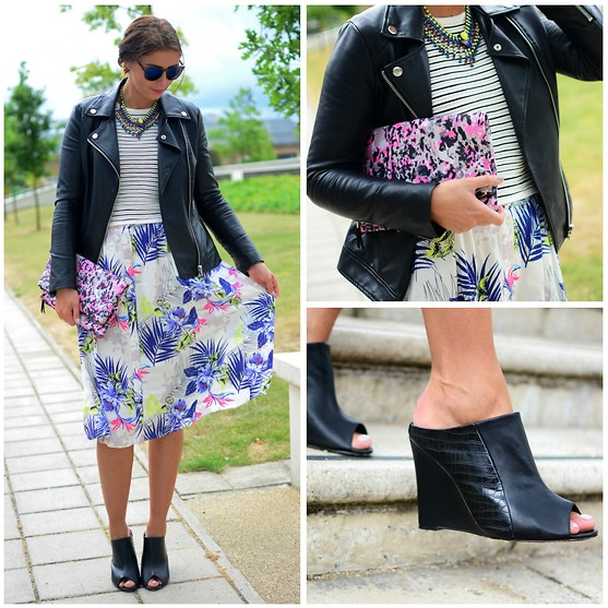 Emma Hill - Forever 21 Wedge Mules, New Look Printed Clutch Bag, Dorothy Perkins Skirt - The Unconventional
